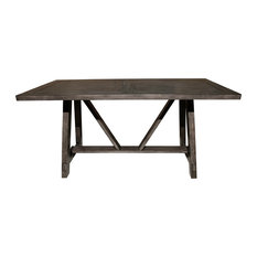 Home Fare Farmhouse Style Wood Trestle Dining Table in Brown