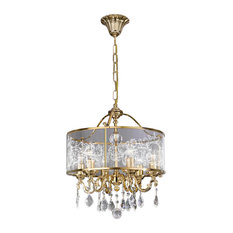 Screen-Printed Glass 6-Arm Crystal Chandelier