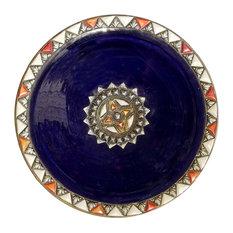 Moroccan Metal and Bone Inlay Ceramic Plate, Blue
