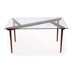 Kardiel - Deco Timber KO Midcentury Modern Dining Table, Walnut Legs and Glass Top - Dining Tables