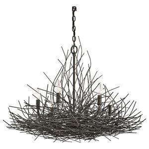 Sticks Traditional 6-Light Chandelier, Bronze