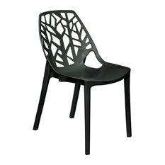 Leisuremod Cornelia Hollow Back Dining Side Chair, Solid Black