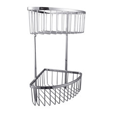 """Ucore 7.75""""x18"""" Stainless Steel Wall Mounted Shower Double Corner Basket"""