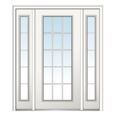 "Verona Home Design - Classic Fiberglass Smooth, 64.5"" x 81.75"", Hand In-Swing: Left - Front Doors"