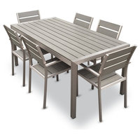 Outdoor Aluminum Resin 7-Piece Dining Table and Chairs Set
