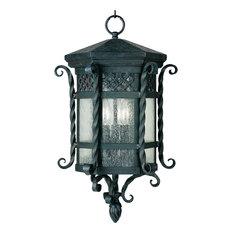 Maxim Scottsdale 3-Light Country Forge Seedy Glass Hanging Lantern