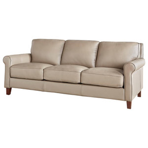 Hydeline New London 100% Leather Sofa, Taupe