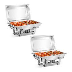 2 Packs Chafing Dish 9 Quart Stainless Rectangular Chafer Full Size Buffet
