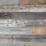 Plank and Mill - Reclaimed Barn Wood Planks, 10 Sq. ft. - 100% Reclaimed Barn wood with back adhesive strips (Peel and Stick Installation) Made in America and handcrafted in Tulsa, Oklahoma.
