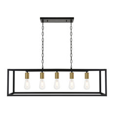 Living District Resolute 5-Light Brass and Black Pendant