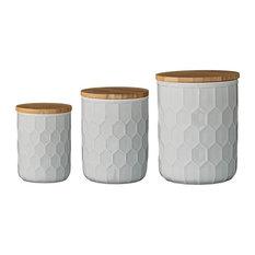 Ceramic Jars With Bamboo Lids, White, 3-Piece Set