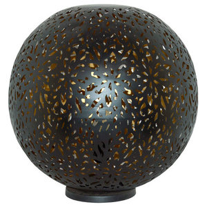 Moroccan Flower Orb Table Lamp, Black, Small
