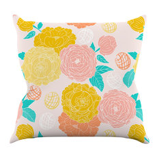 "Anneline Sophia ""Peonies Peach"" Yellow Pink Throw Pillow"