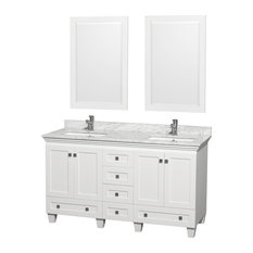"""Wyndham Collection 60"""" Acclaim White Double Vanity With White Porcelain Sink"""