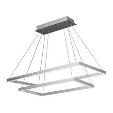 Atria Duo LED Adjustable 2-Tier Chandelier, Silver