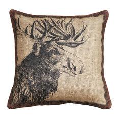 Moose Burlap Pillow