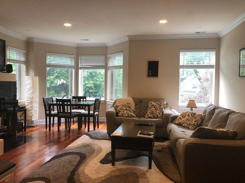 Need help decorating and odd shaped living room