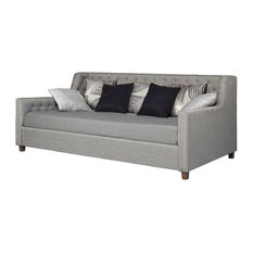 Casa Furnish Store - Twin Size Grey Linen Upholstered Day Bed With Tufted Detailing And Wood Legs - Daybeds