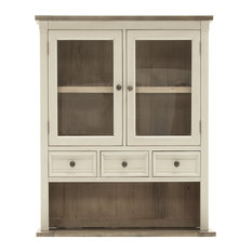 Croft Weathered Wooden Pantry Cabinet With Glass Doors