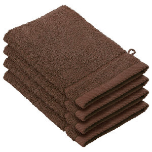 Stephanie 4-Piece Facecloth Set, Roast Brown