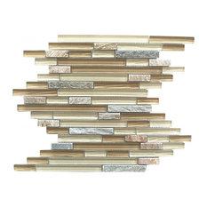 "Brown Linear Bark Glass and Stone Mosaic Tile, 11.73""x11.98"" Single Sheet"