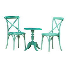 GDF Studio 3-Piece Ernie Outdoor Black Plastic Nylon Chat Set, Magnolia Green
