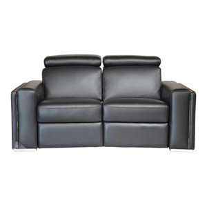Incredible Ellie Full Top Grain B Grade Leather Motorized Sofa Black Dailytribune Chair Design For Home Dailytribuneorg