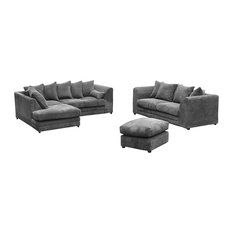 Darcey 2-Piece Grey Sofa Set With Footstool, Left Facing