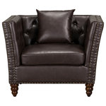 Standard Furniture - Westerly Tufted Arm Chair, Dark Brown - Warm and welcoming Westerly has broad flaring arms with a button tufted back and seat. Accented with antique brass nailheads, making a grand statement in any room.