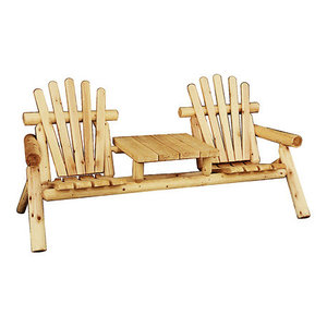 Outdoor Log Adirondack Rocker Rocking Chair Natural Wood
