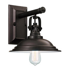 Bowery Indusrial Wall Sconce Metal Brodie Shade, Edison Bulb, Burnished Bronze