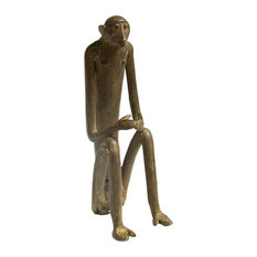 Old New House   Consigned, Large Seated Monkey, Hands Touching Vintage  African Bronze Sculpture