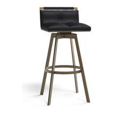 Leather Swivel Stool Black Bar Stool 30-inch
