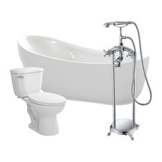"ANZZI 71"" White Acrylic Soaking Bathtub With Faucet and 1.28 GPF Toilet"
