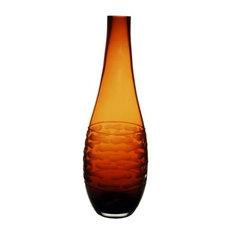 """Amber Bullet Shaped Vase. 14"""""""