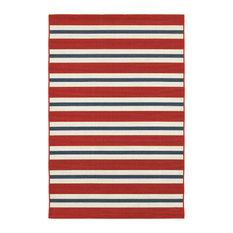 "Madelina Stripe Red and Blue Indoor or Outdoor Area Rug, 7'10""x10'10"""