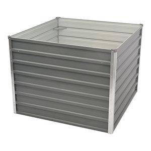 vidaXL Raised Galvanised Steel Garden Bed, Grey, 100x100x77 cm