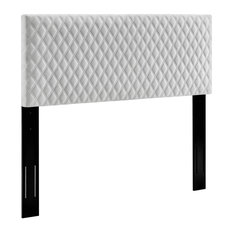 Headboard Velvet Upholstery With Diamond Lattice Pattern King Size White