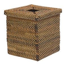 Square Tissue Box Cover in Nito, Brown