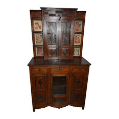 Mogul Interior - Consigned Antique Wall Cabinet Indian Paintings Boho Drawer Chest Furniture - China Cabinets and Hutches