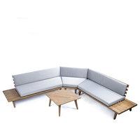 GDF Studio 4-Piece Hillside Outdoor V Shaped Sectional Sofa Set, Gray Finish/Gra