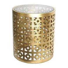 Seketa Regent End Table 19-inch Gilded Brass Glass Top