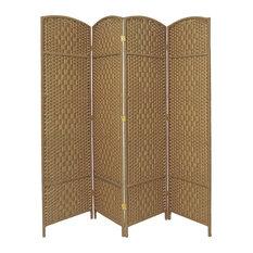 7' Tall Diamond Weave Room Divider, Natural, 4 Panels
