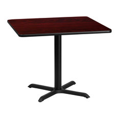 36-inch Square Mahogany Laminate Table Top With 30-inchx30-inch Table Height Base