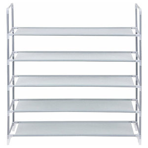 Modern Standing Shoe Rack, Fabric With Stainless Steel Frame With 4-Shelf, Grey