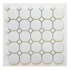 Matte White With White Dot Octagon Porcelain Mosaic Tile,Lot of 10