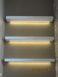 lighting for shelves. power supply that he located in the basement also installed a dimmable light switch room iu0027m very happy with my shelves they look great lighting for
