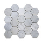 "12.25""x10.75"" Carrara White Hexagon Mosaic Tile Tumbled, Chip Size 3"""