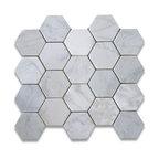 "12.25""x10.75"" Carrara White Hexagon Mosaic Tile Tumbled, Chip Size 3"""