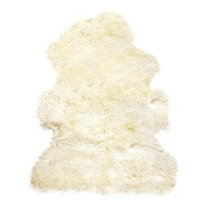Natural 100% New Zealand Sheepskin Curly Single, 2'x3' Natural